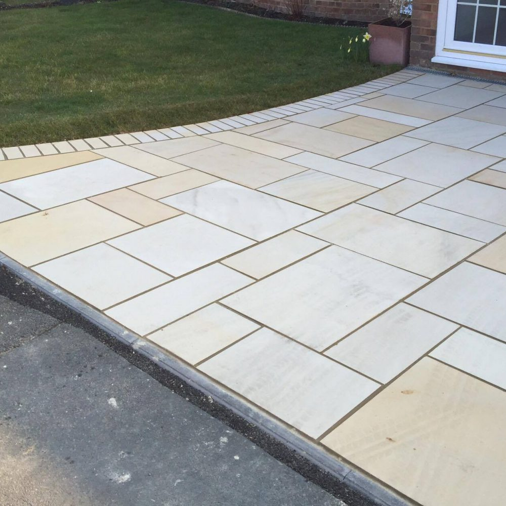Polished Indian Sandstone Driveway Installation- Burgess Hill, West Sussex
