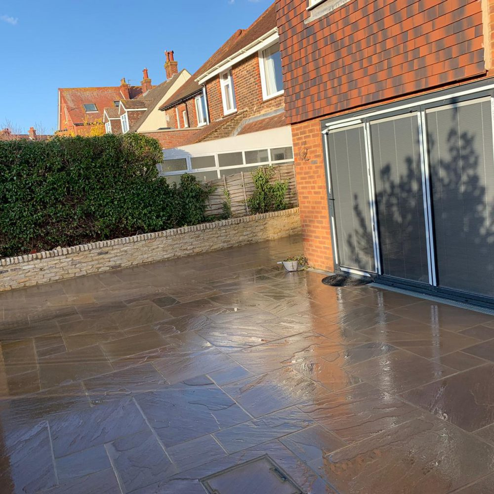 Indian Sandstone Patio Installation with Cotswold Walling- Brighton
