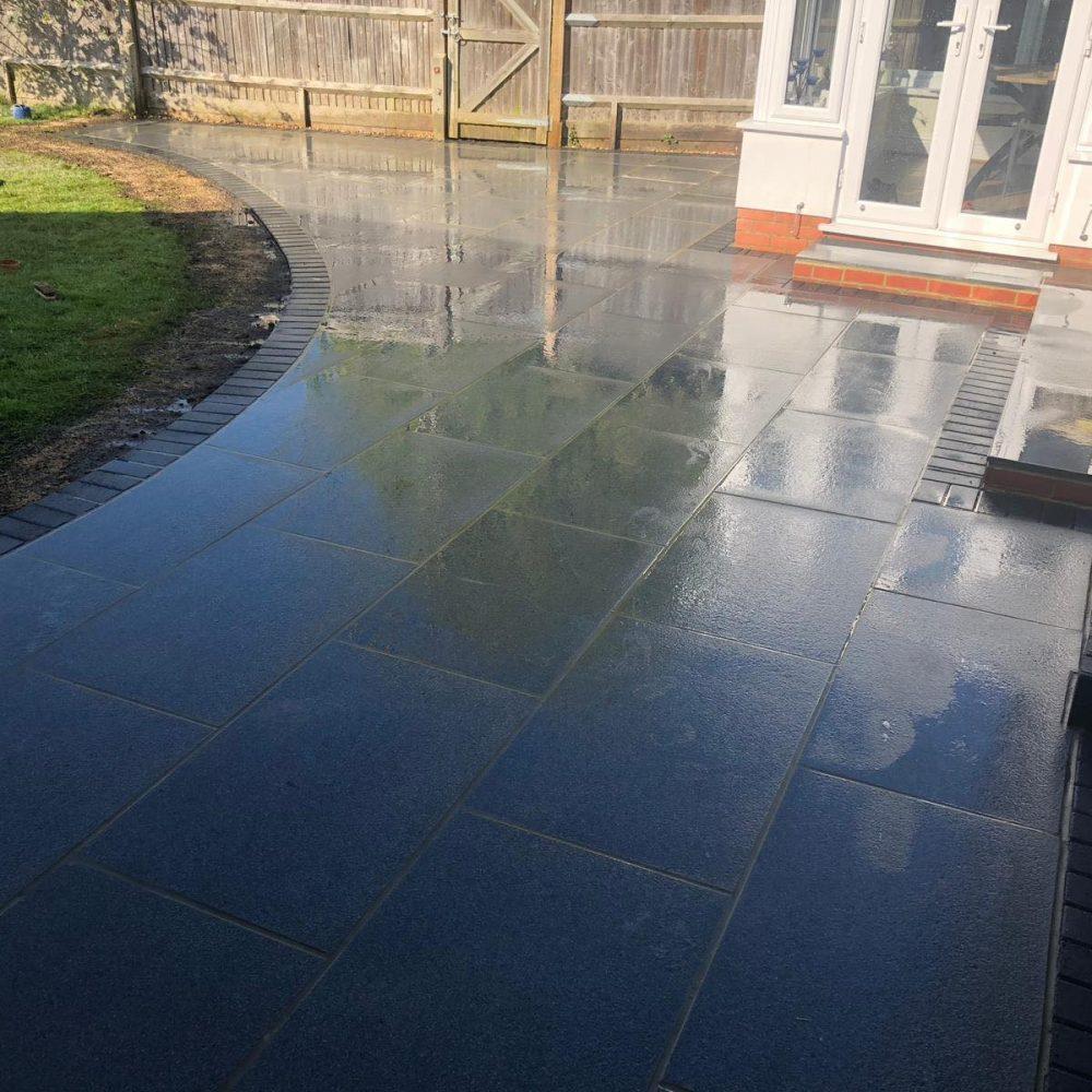 Black Granite Patio Installation- Burgess Hill