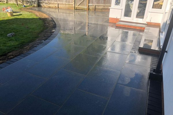 Black Granite Patio Installation- Burgess Hill