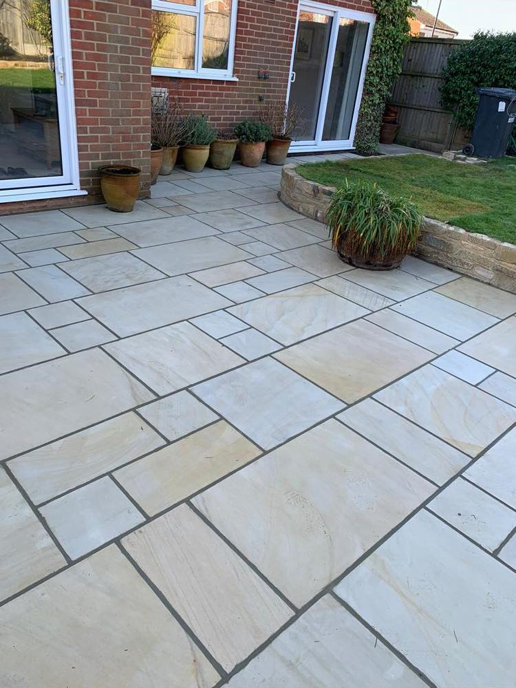 Polished Sandstone Patio Installation- Burgess Hill