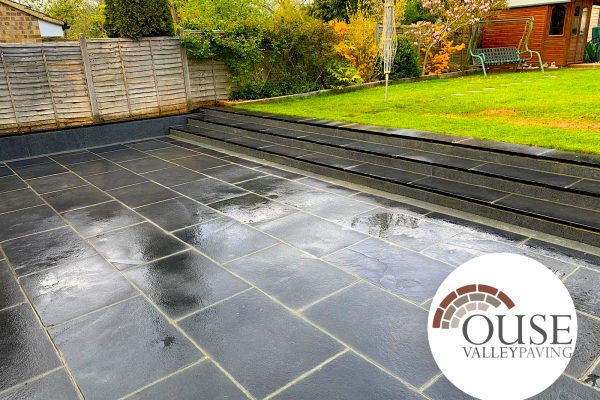 Black Limestone Patio Installation- Burgess Hill