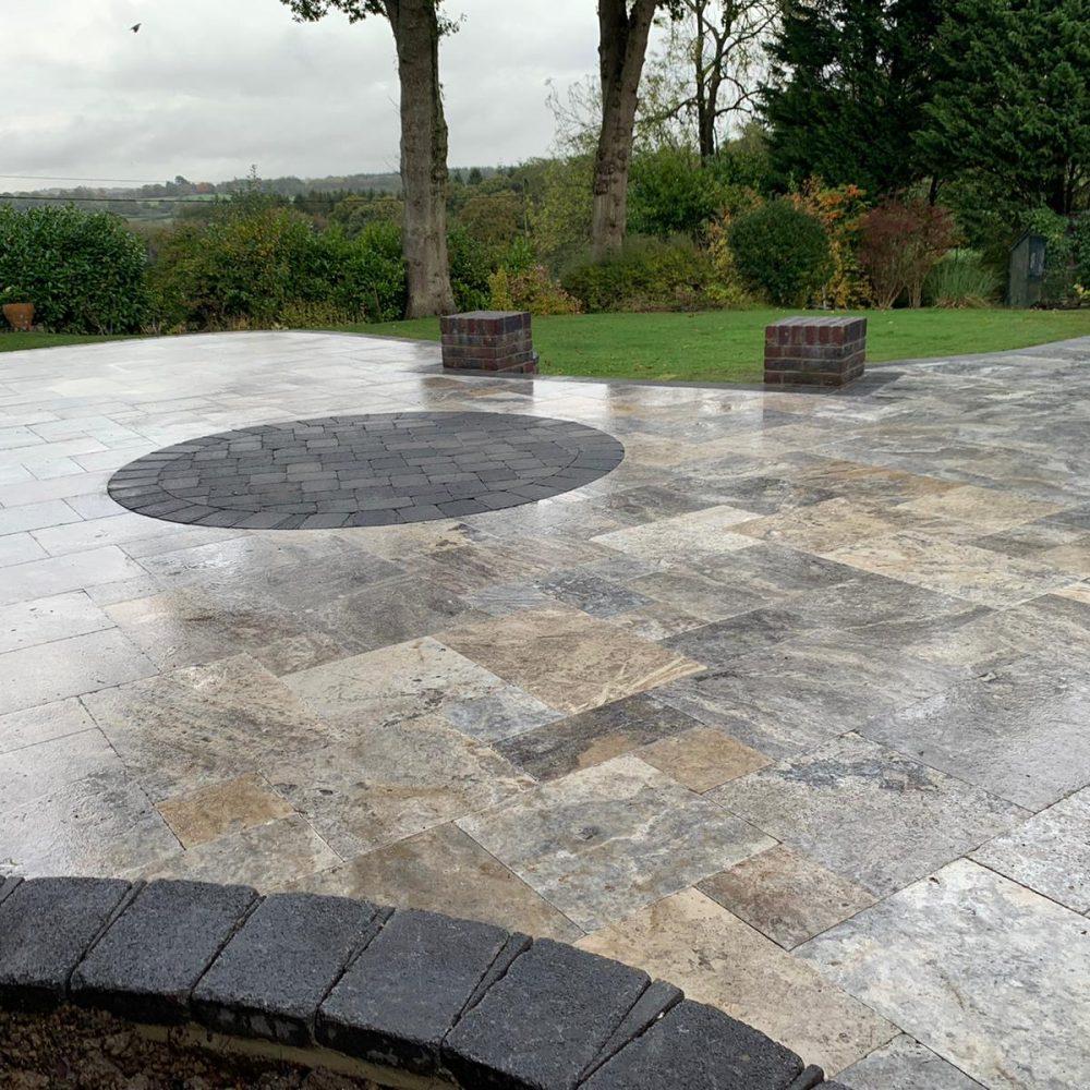 Silver Travertine Patio Installation- Balcombe