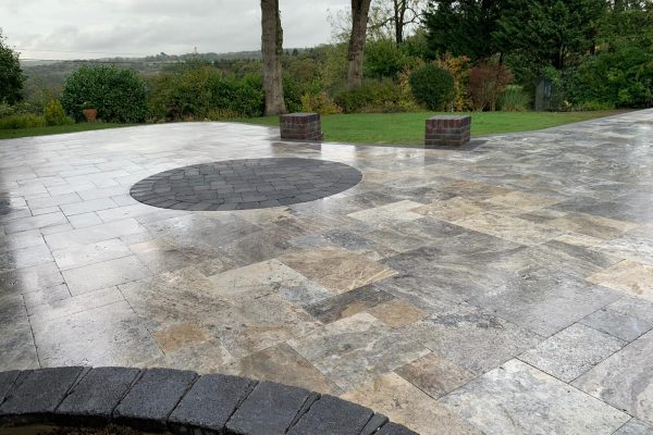 Silver Travertine Patio Installation- Balcombe